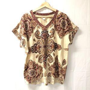 Style & Co XL boho paisley top